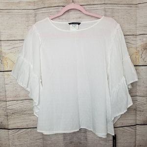 NWT Textured White Blouse with Ruffle Sleeves